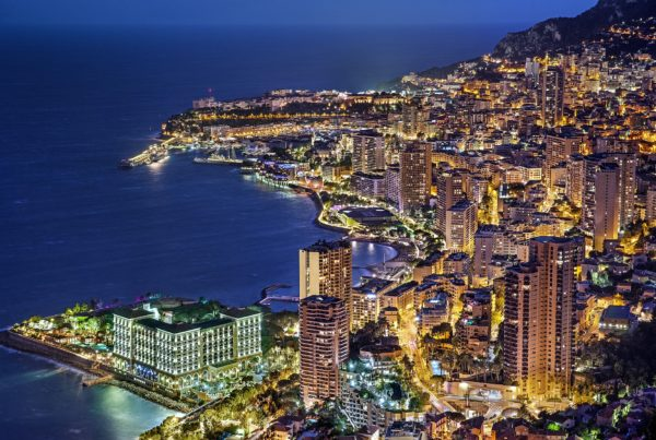 Aerial view of Monaco at night. Photo by Julius Silver for Pixabay.