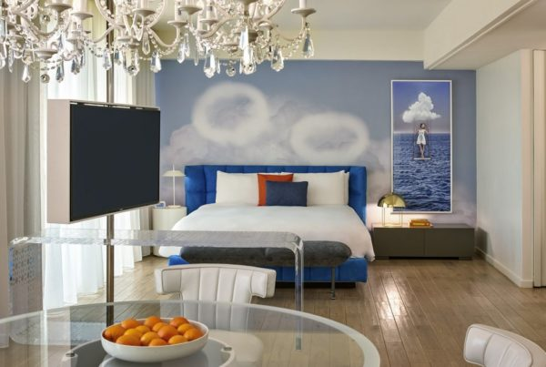 sbe and accor expanding Mondrian brand. Image of Bedroom, Suite, Mondrian Los Angeles. Photo by David Phelps.