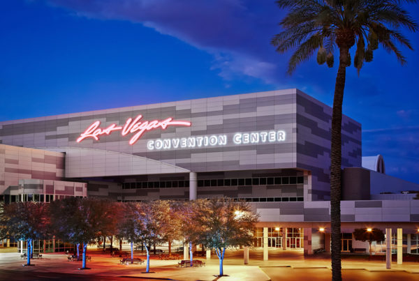 Image of exterior main entrance of the Las Vegas Convention Centre.