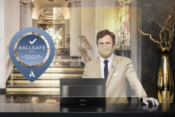 AllSafe certified logo shown at Accor reception desk. Part of the All Stay Well program to protect against Covid-19 and other viruses. Image courtesy of Accor.