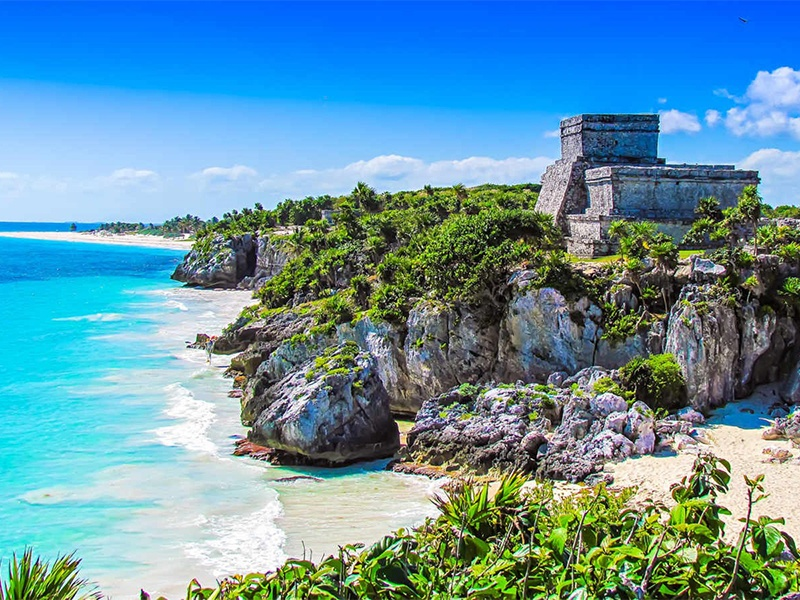Image of Mayan Ruins on the Caribbean coast of Mexico. One of the five things Maritur DMC is looking forward to sharing with business event planners when travel to Mexico resumes.