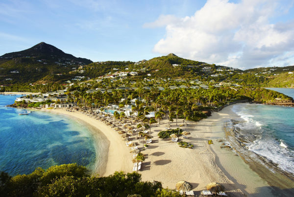 Aerial view of Rosewood Le Guanahani St. Barth's. Rosewood will take over management of the iconic property when it reopens in Spring 2021. Photo courtesy of Rosewood.