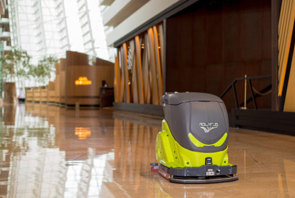 Image of autonomous cleaner being used to clean lobby of Marina Bay Sands, Singapore. Photo courtesy of Marina Bay Sands.