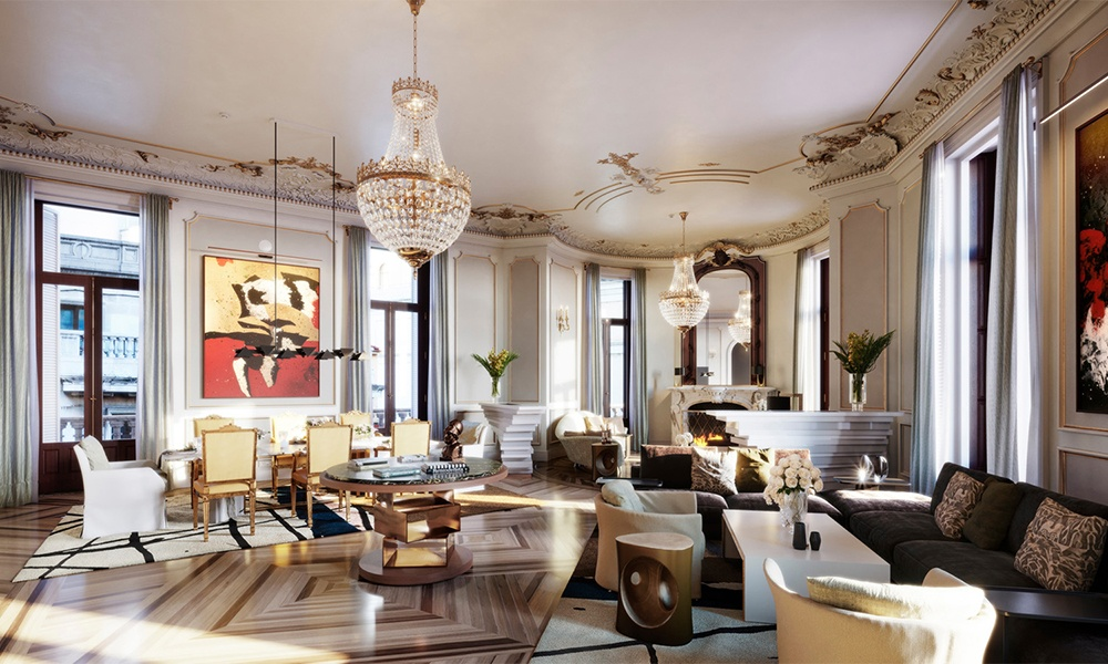 Four Seasons Hotel Madrid has 39 suites, including the Royal Suite shown here. Located on the property's second floor, the Royal Suite features original historical design details. Photo courtesy of Four Seasons Hotels & Resorts.