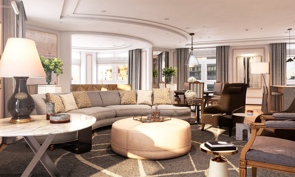 Four Seasons Hotel Madrid has 39 suites, including the Presidential Suite shown here. The two-bedroom suite is located on the fifth floor. Photo courtesy of Four Seasons Hotels & Resorts.