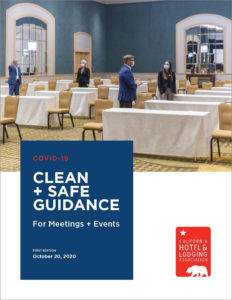 California Hotel and Lodging Association's new guide to safe meetings and events includes guidance from CDC and California's Department of Health. Image shows cover of guide.