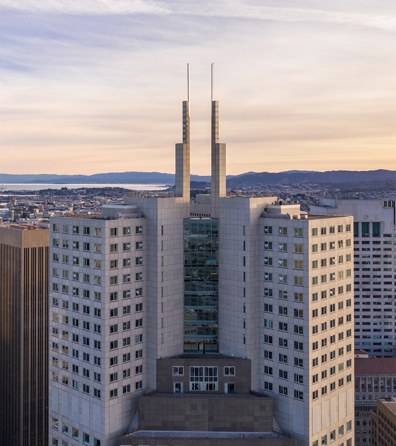 Second Four Seasons in San Francisco is located on the top 11 floors of the 48-storey 345 California Center building. Photo of exterior courtesy of Four Seasons Hotels & Resorts.