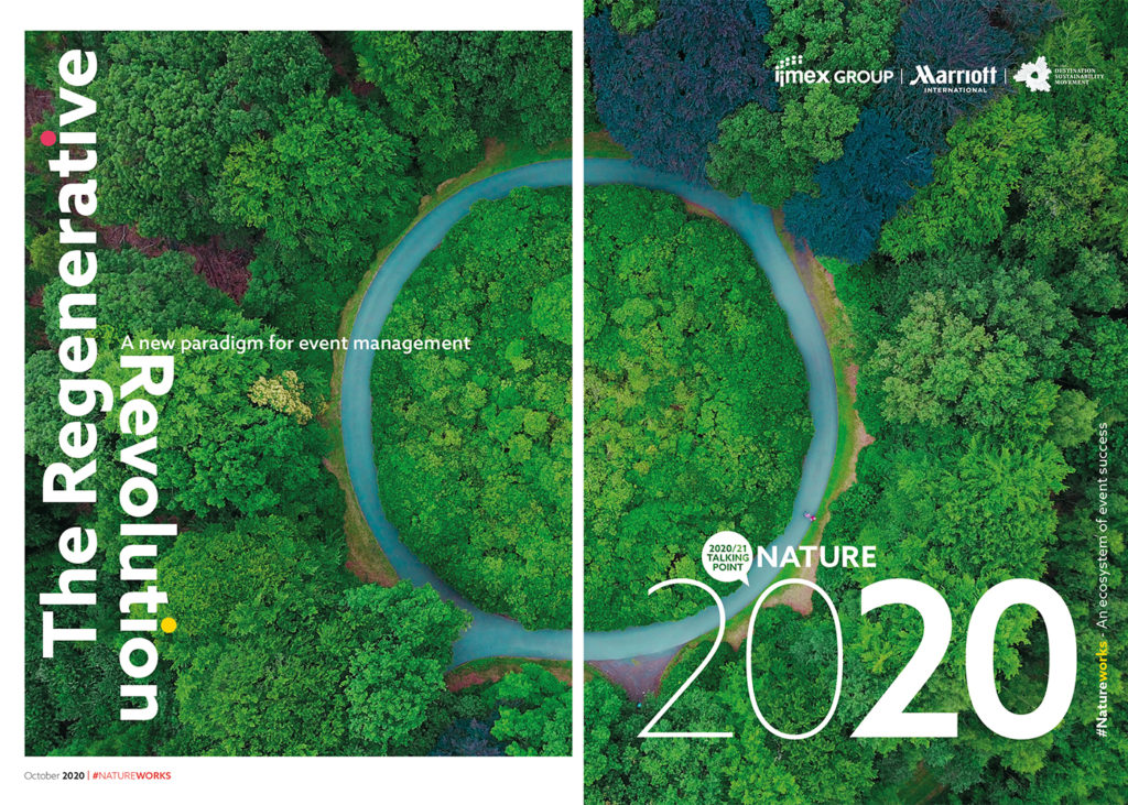 New IMEX report presents a new paradigm for event management, which pairs eco regeneration with restarting. Image is of the cover of the report: The Regenerative Revolution.
