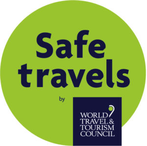 WTCC's Safe Travels stamp has been adopted by 100 destinations worldwide. Image of logo.