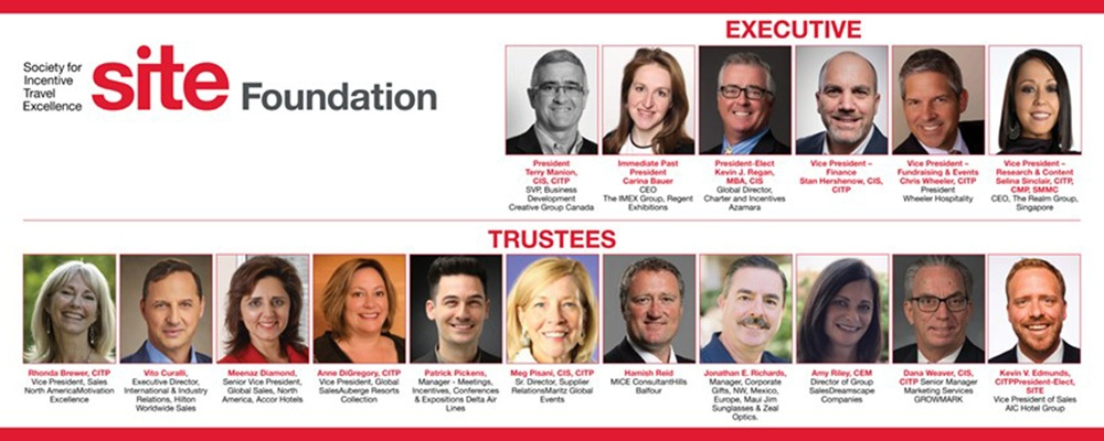 Society for Incentive Travel Excellence announces 2021 executive and trustees for SITE Foundation.