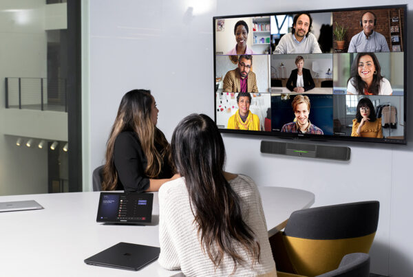 New hybrid meeting concept from Accor is supported by Microsoft Teams. Image shows two women using ALL CONNECT in meeting room. Image provided by Accor.