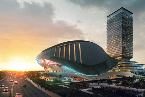 Populous-designed performance venue is slated to be built on the grounds of Toronto's historic CNE. Image here is a rendering of the building provided by OverActive Media.