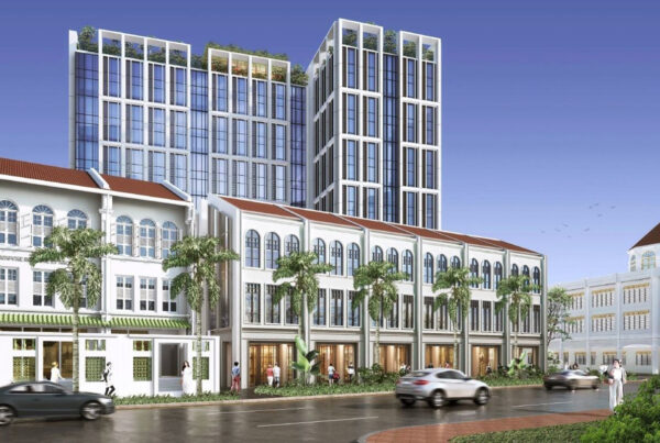 Singapore's first Mondrian hotel will combine traditional and contemporary architecture. Image here is a rendering of the exterior of the property provided by Accor.
