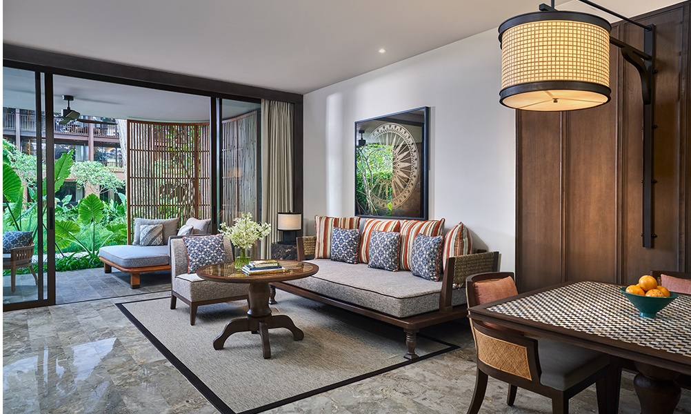 Andaz Bali is now open in Sanur. Photo here shows living room in one of the property's suites. Photo courtesy of Hyatt.