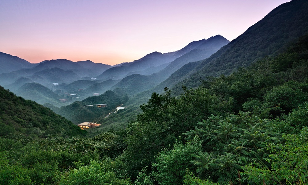 Unbound Collection by Hyatt now includes Commune by The Great Wall, an extraordinary property hidden in the Shuiguan mountains. Image here is an view of the property and surrounding mountains. Image courtesy of Hyatt.
