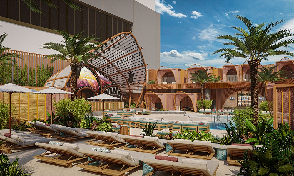 Resorts World Las Vegas features a 5.5-acre poolscape. Rendering here shows Ayu Dayclub.