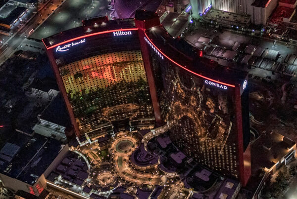 Resorts World Las Vegas will open in June. Image here is an aerial view of the property at night. Photo by Maverick Helicopters.