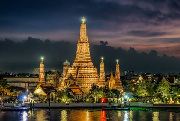 Thailand raises safety of MICE cities. Photo by navogel/Canva shows sunset in Bangkok.