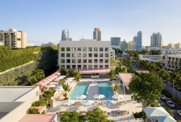The Goodtime Hotel opened April 15, 2021 in South Beach. Photo shows pool at the 266-key property.
