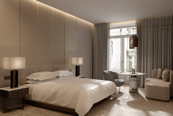 JW Marriott brand will debut in Spain with the opening of the JW Marriott Madrid in 2022. Photo here shows possible guestroom for the property. Image courtesy of Marriott International.