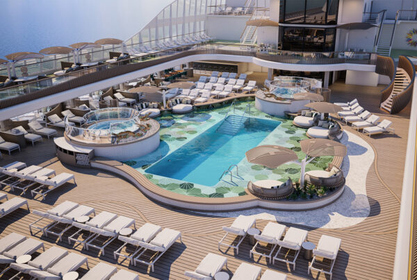 Oceania Cruises will launch its new Allura Class ship, Vista, in 2023. Image here show's an artist's rendering of the Vista's pool deck. Image courtesy of Oceania Cruises.