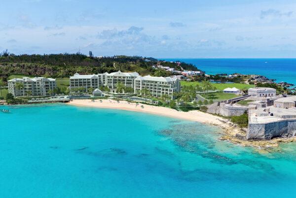 St. Regis brand has debuted on Bermuda. Image here is an aerial view of the resort. Photo courtesy of St. Regis Bermuda Resort.