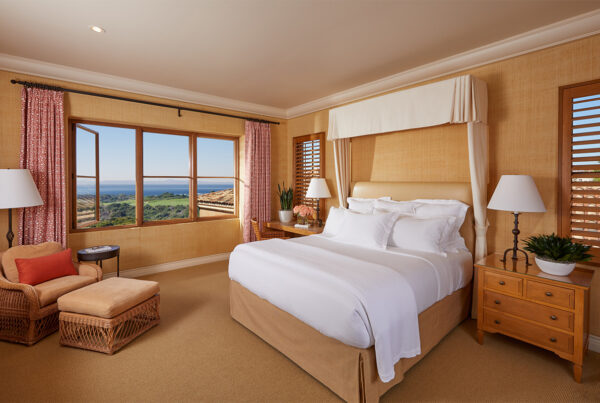 The Resort at Pelican Hill is the world's first hotel to earn UL verification. Image here shows a guestroom at the property, which is located in Newport Beach, California. Photo courtesy of The Resort at Pelican Hill.