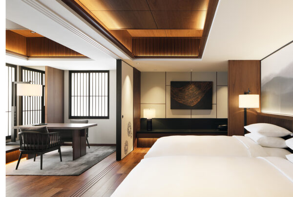Tribute Portfolio has expanded its footprint in Japan with the opening of the Hiyori Chapter Kyoto. Image here shows the hotel's Chapter Suite. Photo courtesy of Marriott.