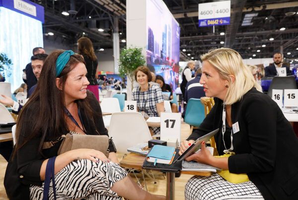 IMEX America will be held November 9-11, 2021 at Mandalay Bay, Las Vegas. Image here shows attendees at the 2019 edition of the show conducting business on the show floor. Photo courtesy of IMEX America.