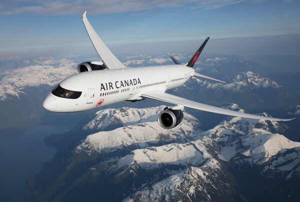 Air Canada Dreamliner flying over The Rockies. Photo courtesy of Air Canada.