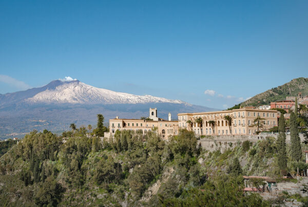 Iconic Sicilian hotel, San Domenico Palace, Taormina, has been restored and reopened under the Four Seasons flag. Image here shows the exterior of the property. Photo courtesy of Four Seasons Hotels & Resorts.