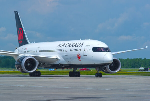 Canada-US network is being rebuilt by Air Canada following Canadian federal government announcing easing of restrictions at Canada-US border, beginning August 9, 2021. Image shows an Air Canada Boeing 787. Photo courtesy of Air Canada.
