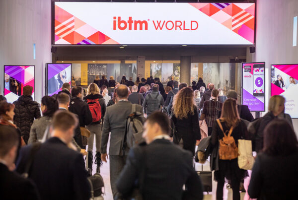 IBTM World Barcelona will take place at Fira Barcelona, November 30-December 2, 2021. Image here shows buyers and exhibitors entering show floor at 2019 edition of the fair. Photo courtesy of IBTM | RX.