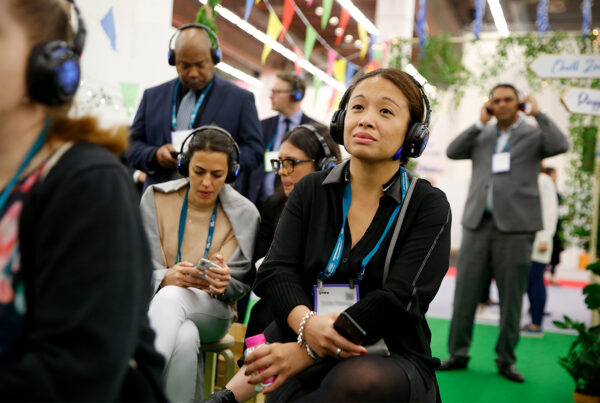 Industry properity, people and the planet are central themes in IMEX America 2021's education program. Image here shows education session attendees at previous edition of the show. Photo courtesy of IMEX Exhibitions.