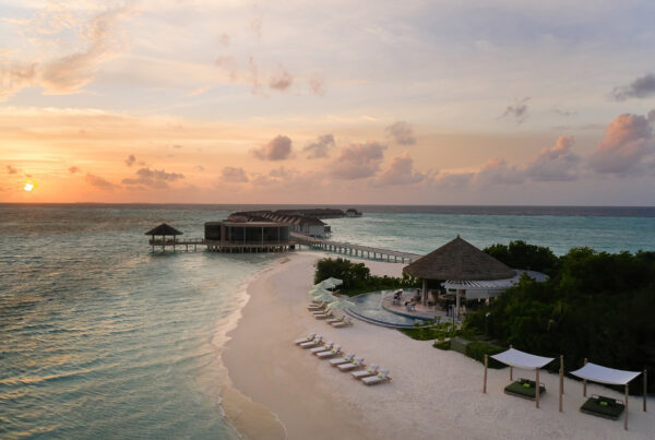 Le Méridien Maldives Resort & Spa opened September 1, 2021. This image shows an aerial view of the 141-villa resort. Photo courtesy of Marriott International.
