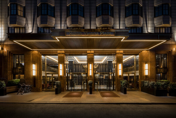 Carbon offsets are now being offered for meetings of 10 or more people at 60 Hilton EMEA properties, including Hilton Vienna Plaza, the entrance of which is shown in this image. Photo by Jonathan Cash. © Hilton 2021.
