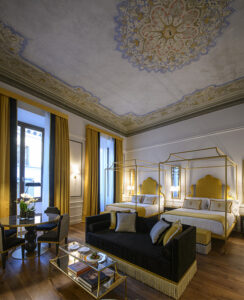 Il Tornabuoni Hotel in Florence has joined The Unbound Collection by Hyatt. Photo here shows one of the hotel's guestrooms. Photo courtesy of Hyatt.