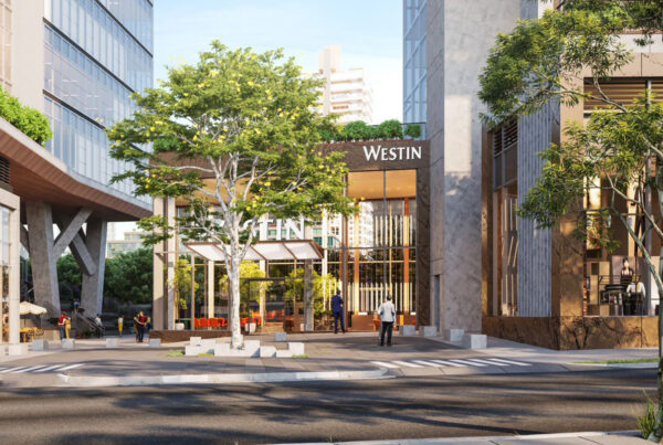 São Paulo will open its first Westin-branded property in 2024 under the terms of a franchise agreement between Marriott International and Hoteis Deville. Image here shows a rendering of the new-build hotel's entrance. Image courtesy of Marriott International.