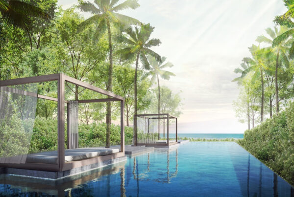 Meliá Phuket Mai Khao is now open. Image here is a rendering of the new resort's pool and cabanas, with view of Andaman Sea. Rendering courtesy of Meliá Hotels & Resorts