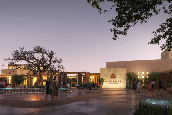 St. Regis Hotels plans to double its resort portfolio in the next three years. This image is a rendering of the exterior of The St. Regis Los Cabos Resort (Mexico), which is scheduled to open in 2023. Image provided by St. Regis Hotels & Resorts.