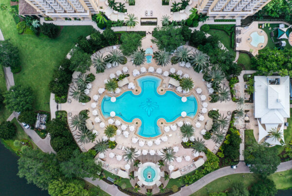 The Ritz-Carlton Orlando, Grande Lakes has unveiled its multi-million-dollar renovation. The image here is an aerial view of the hotel's pool. Photo courtesy of The Ritz-Carlton Hotel Company.